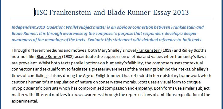 essay notes frankenstein
