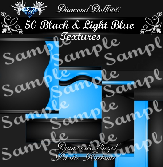 50 Black & Light Blue Textures