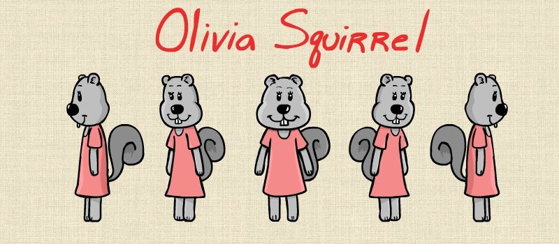 "11""x8.5"" PRINT - Olivia Squirrel Autographed Character Sheet"