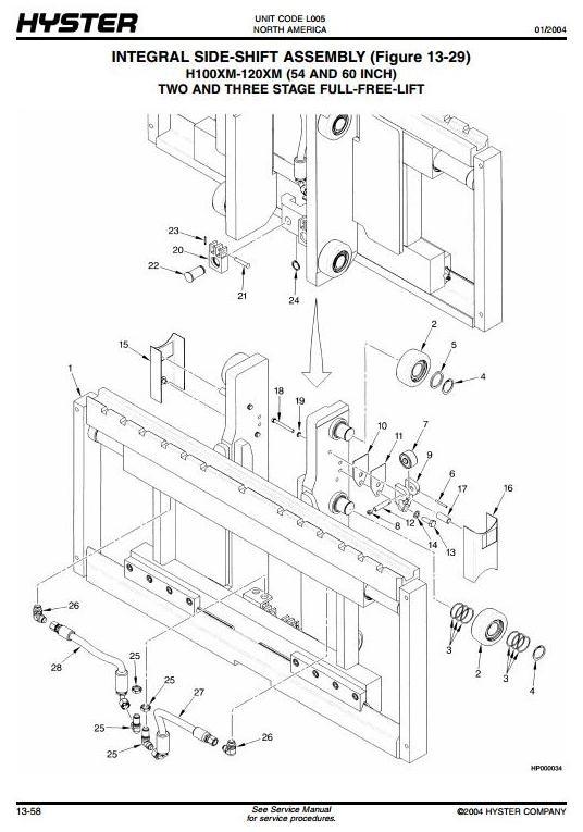 Hyster Forklift L005: H3.50XMS, H3.75XMS, H4.00XMS, H4.50XM, H5.00XM, H5.50XM Spare Parts List