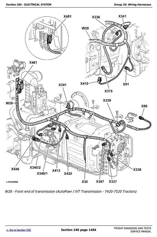 John Deere 7220, 7320, 7420, 7520 2WD or MFWD Tractors Diagnosis and Tests Service Manual (TM2047)