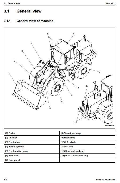 Komatsu Wheel Loader WA380-6 sn: H60051 and up Operating and Maintenance Instructions
