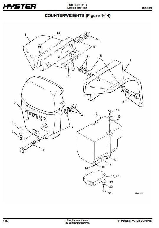 Hyster Diesel Forklift Truck D117 Series: H800E, H880E, H970E, H1050E Spare Parts List, Manual (EPC)