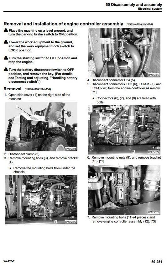 Komatsu Wheel Loader WA270-7 USA sn:A27001 and up Workshop Service Manual