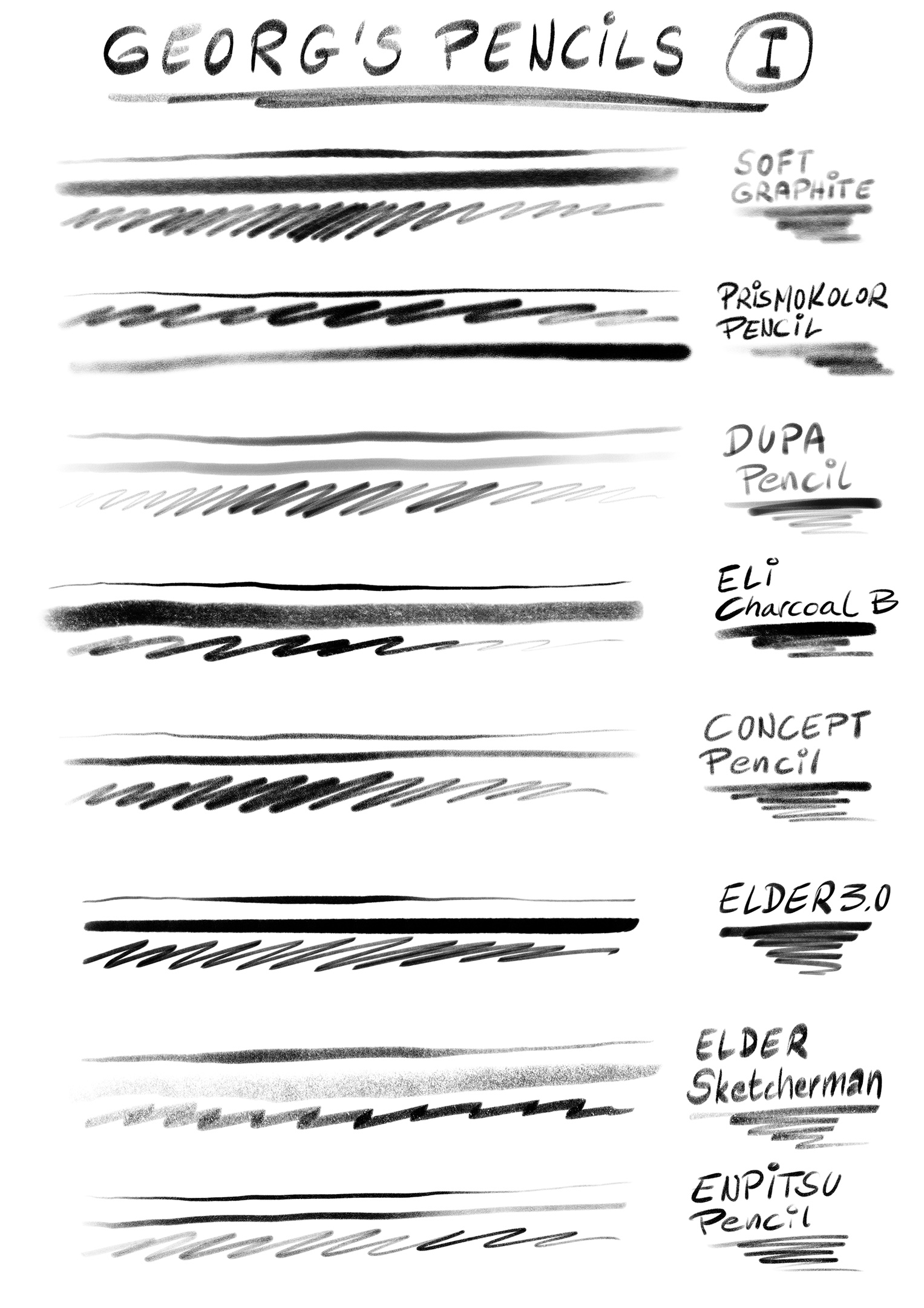 Procreate PENCIL Set: 30+ Pencils, Charcoal, Graphite - Georg's