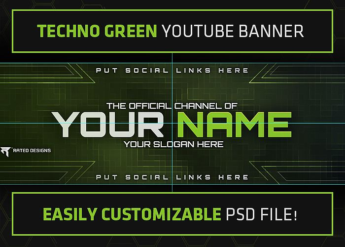 rated designs techno green youtube banner template. Black Bedroom Furniture Sets. Home Design Ideas