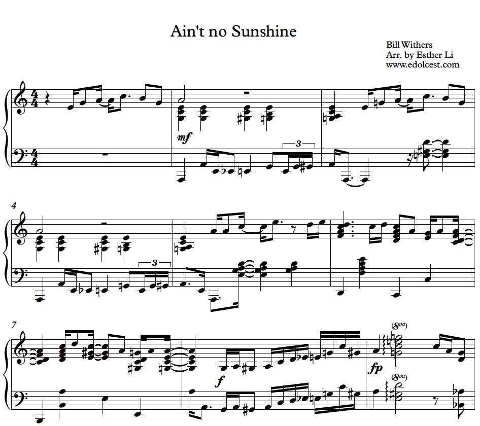 'Ain't no Sunshine' piano sheet music