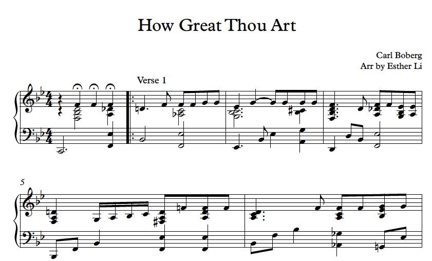 'How Great Thou Art' piano sheet music