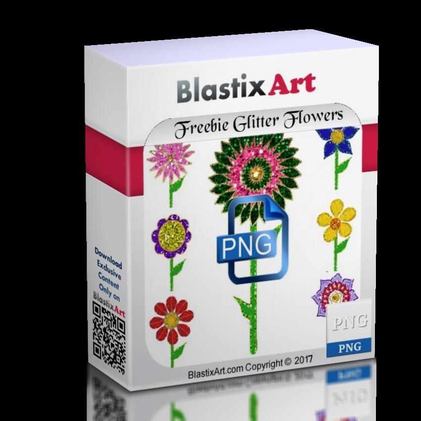 Freebie Png Glittery Flowers