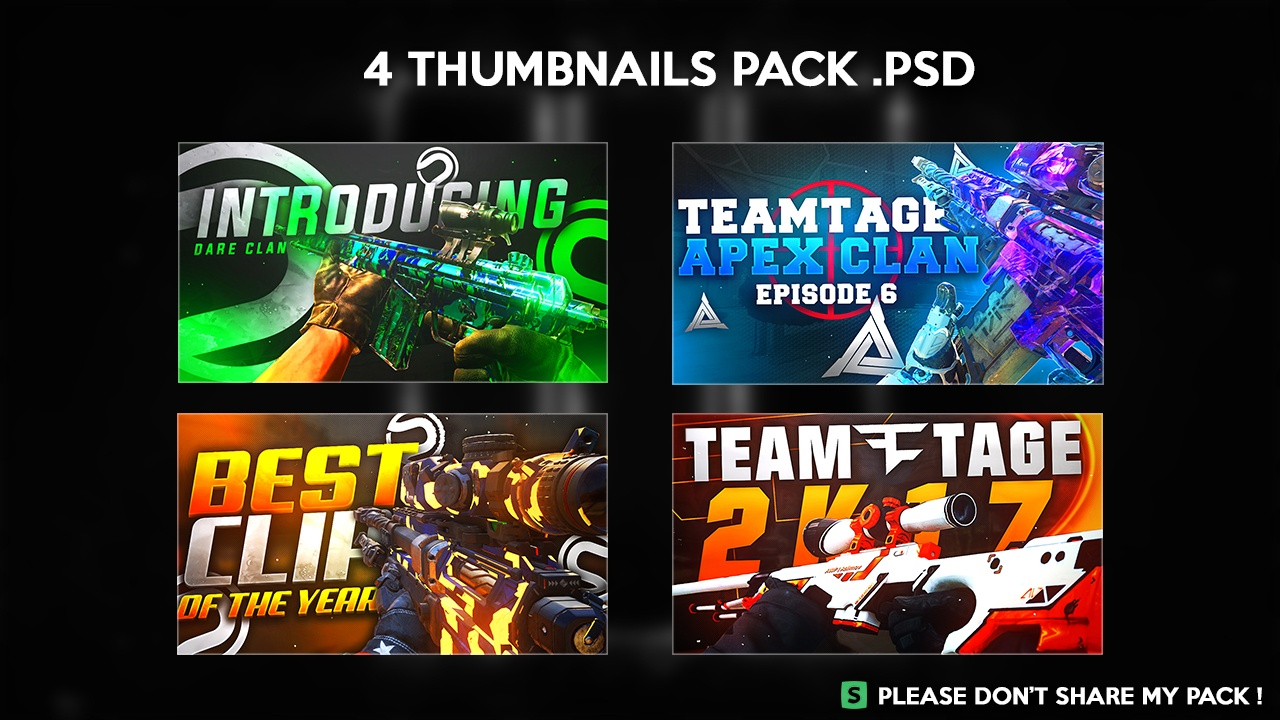 4 THUMBNAIL NEW STYLE PACK PSD