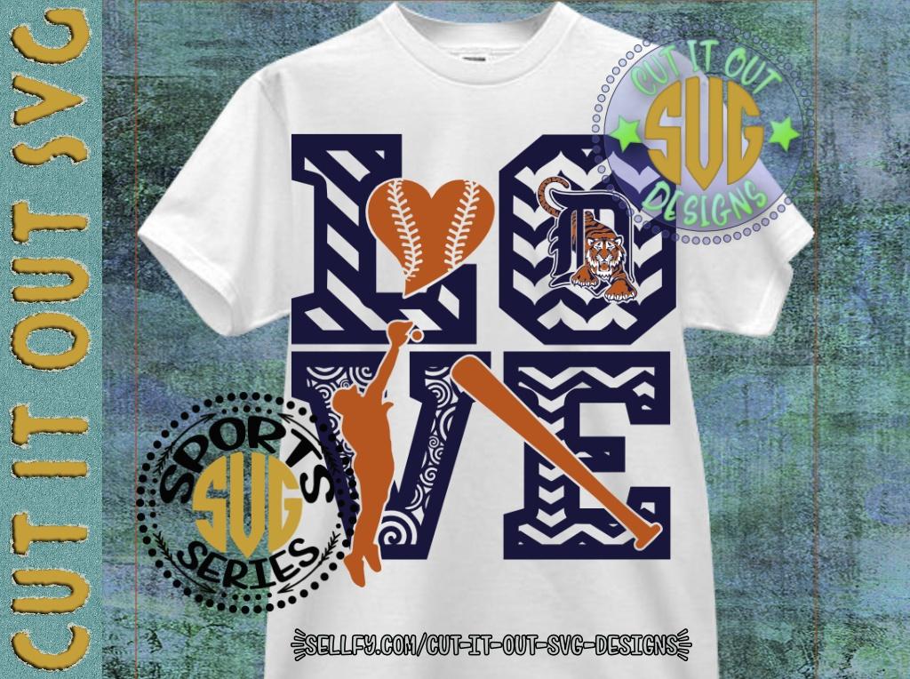 LOVE BASEBALL - Detroit Tigers V2 SVG Cutting File