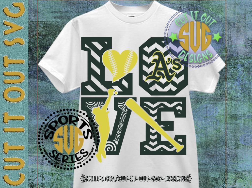 LOVE BASEBALL - Oakland Athletics SVG Cutting File
