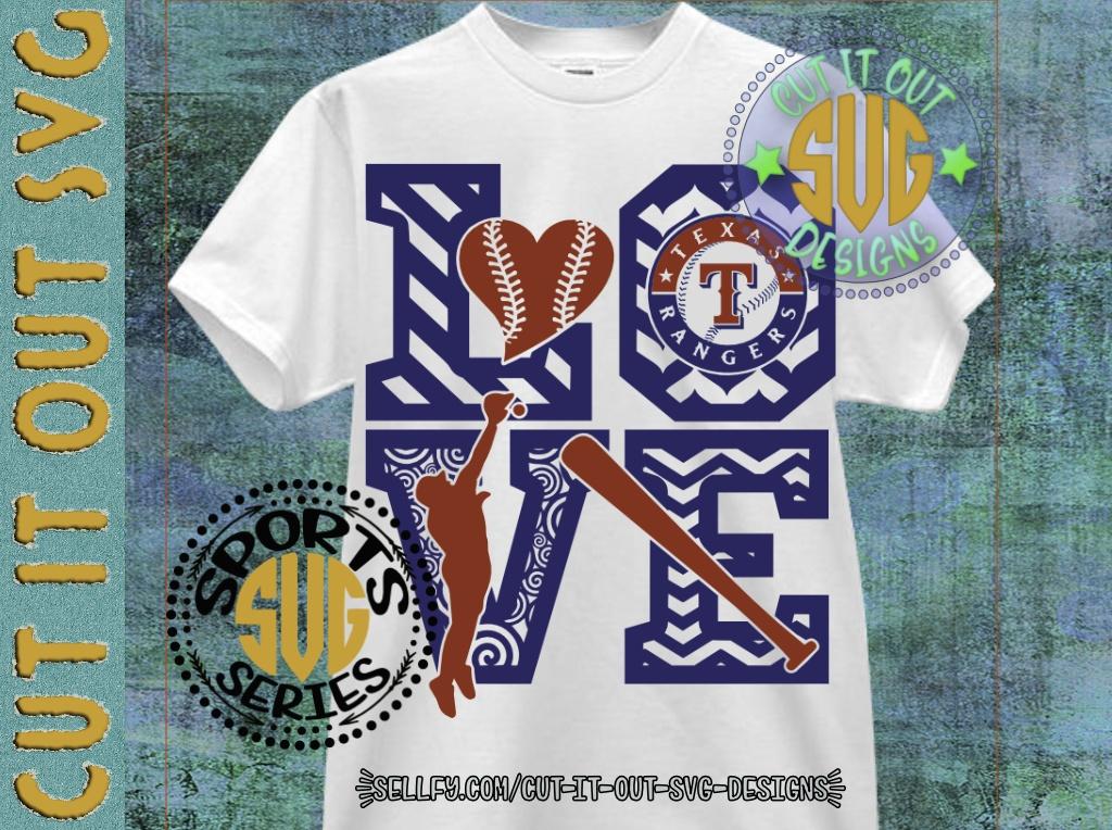 LOVE BASEBALL - Texas Rangers SVG Cutting File