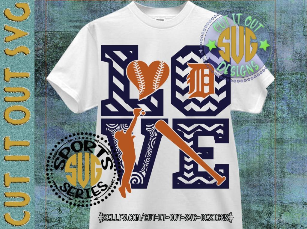 LOVE BASEBALL - Detroit Tigers V1 SVG Cutting File