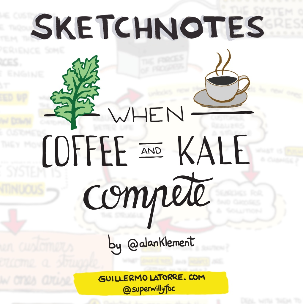 """Sketchnotes from the book: """"When coffee and kale compete"""""""