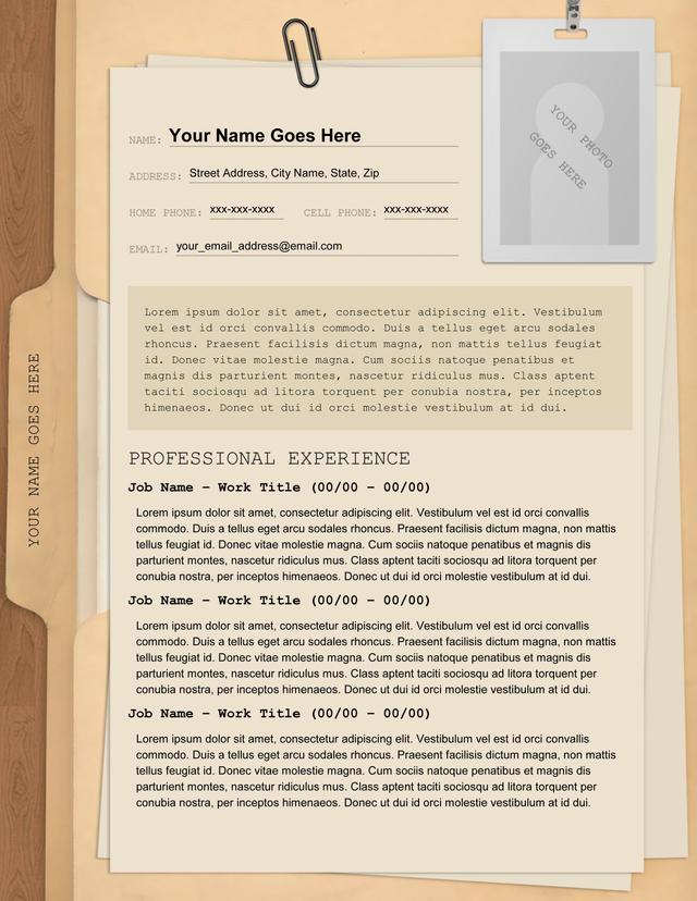 manila folder resume - Resume Folder