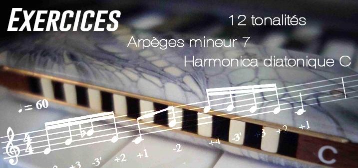 Exercices - Arpèges mineur 7 - 12 tonalités - transposable (Musescore)