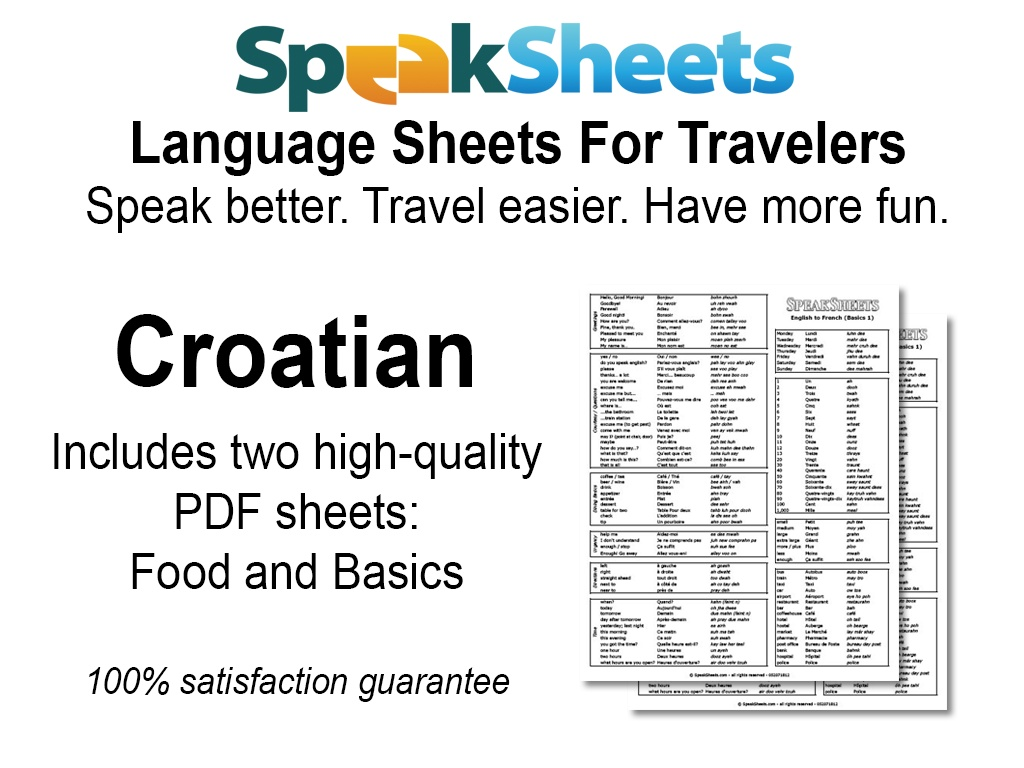 Croatian Travel Language Set