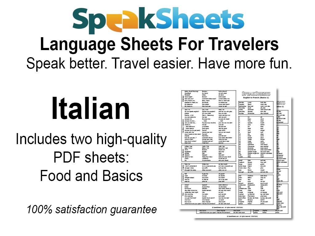 English In Italian: SpeakSheets