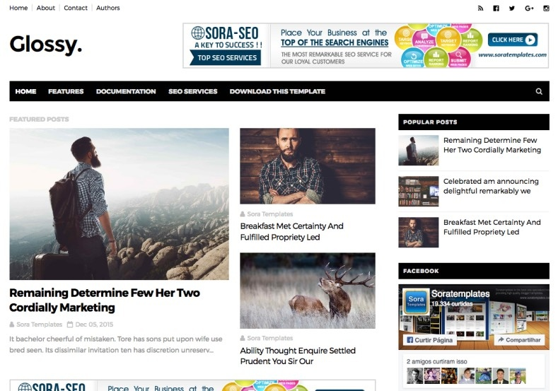 Glossy Blogger Template Premium Version