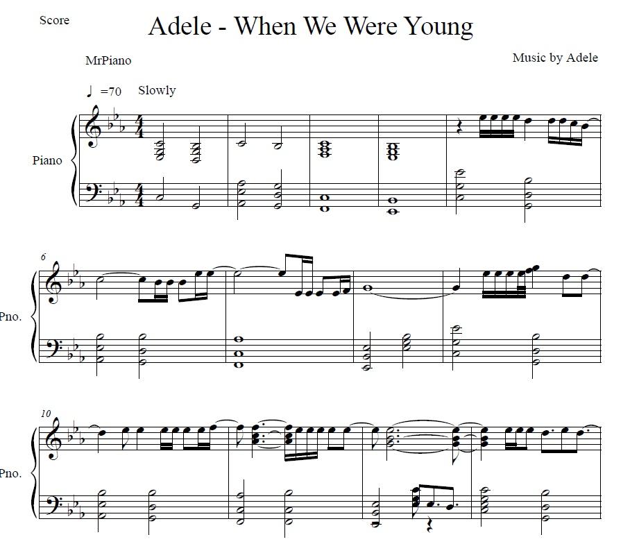 When We Were Young: When We Were Young (Piano Sheet