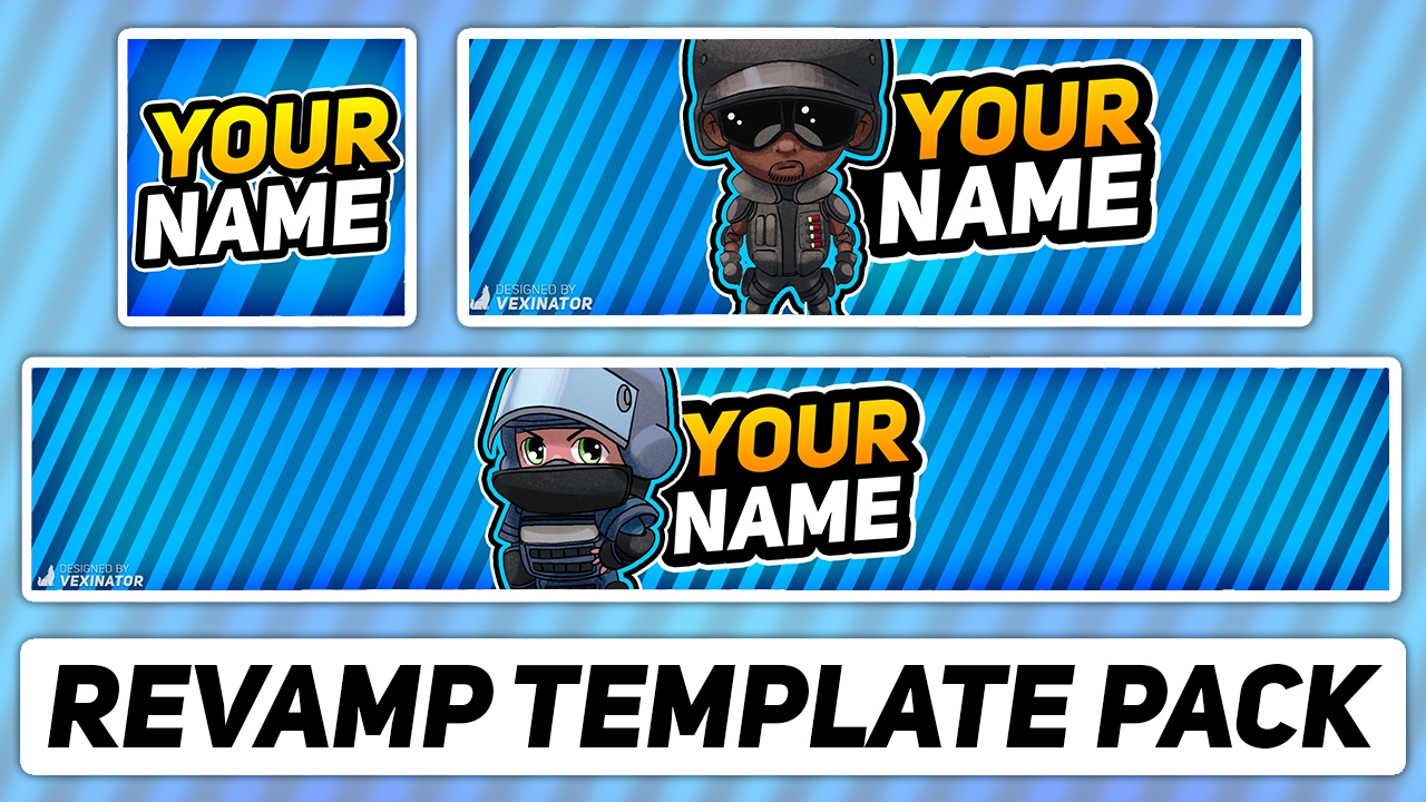 Gaming Revamp Pack | Free Photoshop Template [YouTube Banner, Avatar & Twitter Header]