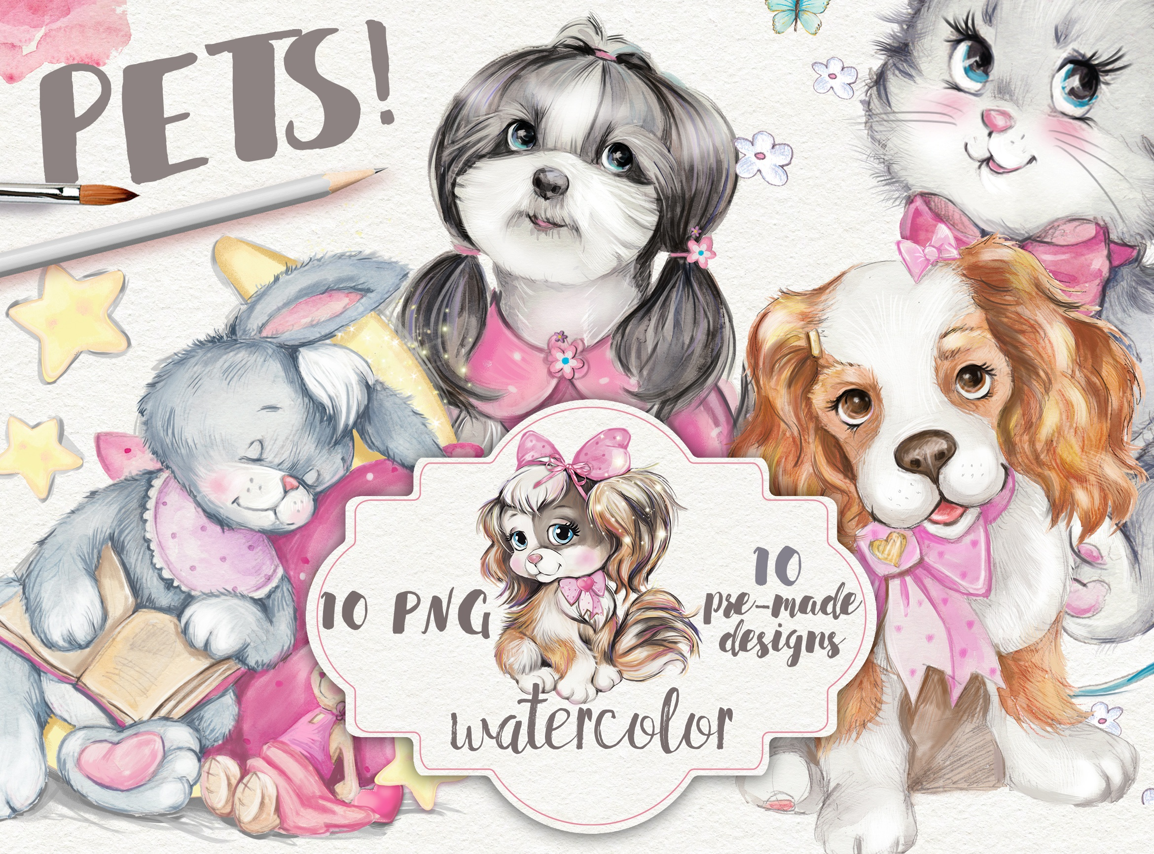 """Pets"" Collection watercolors. 10 PNG"