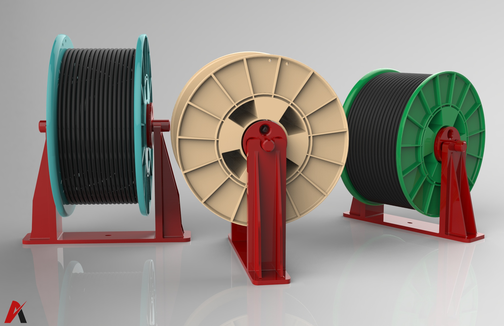 3D Cable Rollers 3 Models Pack