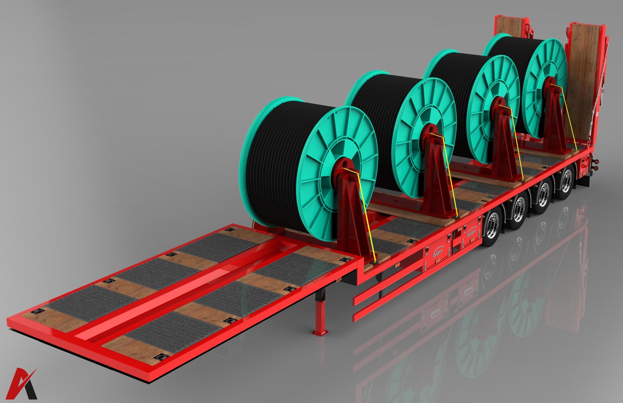 3D Ekeri Platform Trailer Cable Rollers Load Model