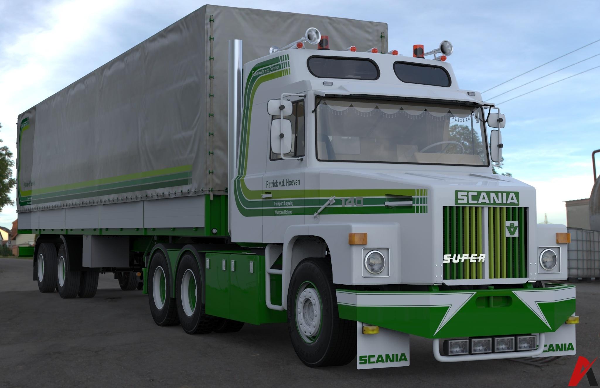 3D Scania 140 L 6×2 Patrick v.d. Hoeven & 2 Axled Curtain Trailer