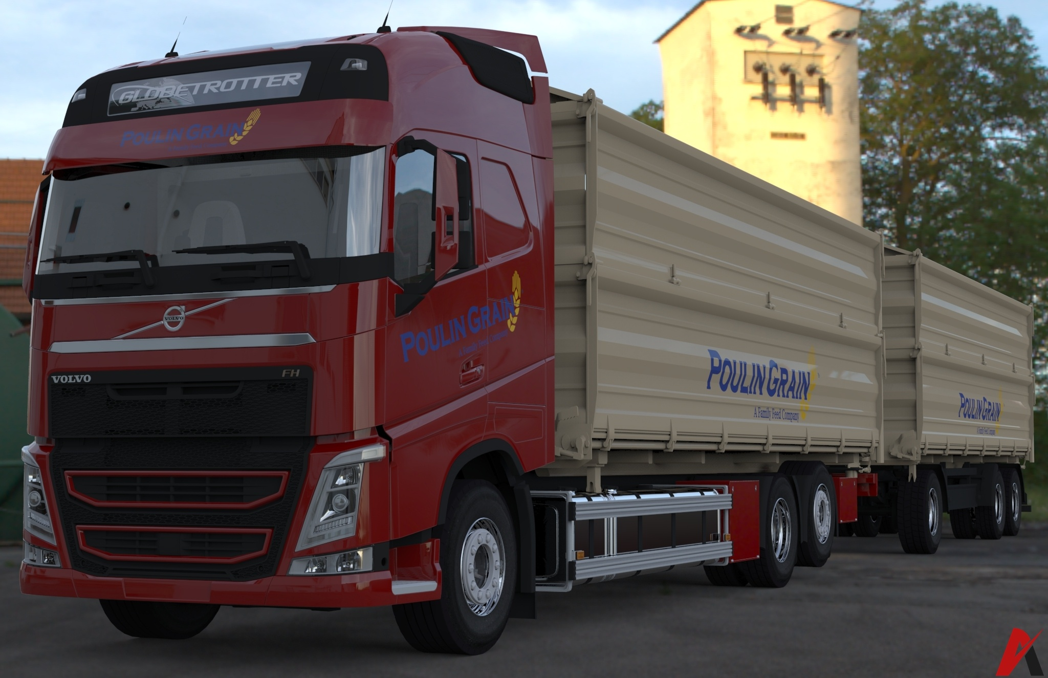 3D Volvo FH Tandem Grain Transport Combo Model 3D model