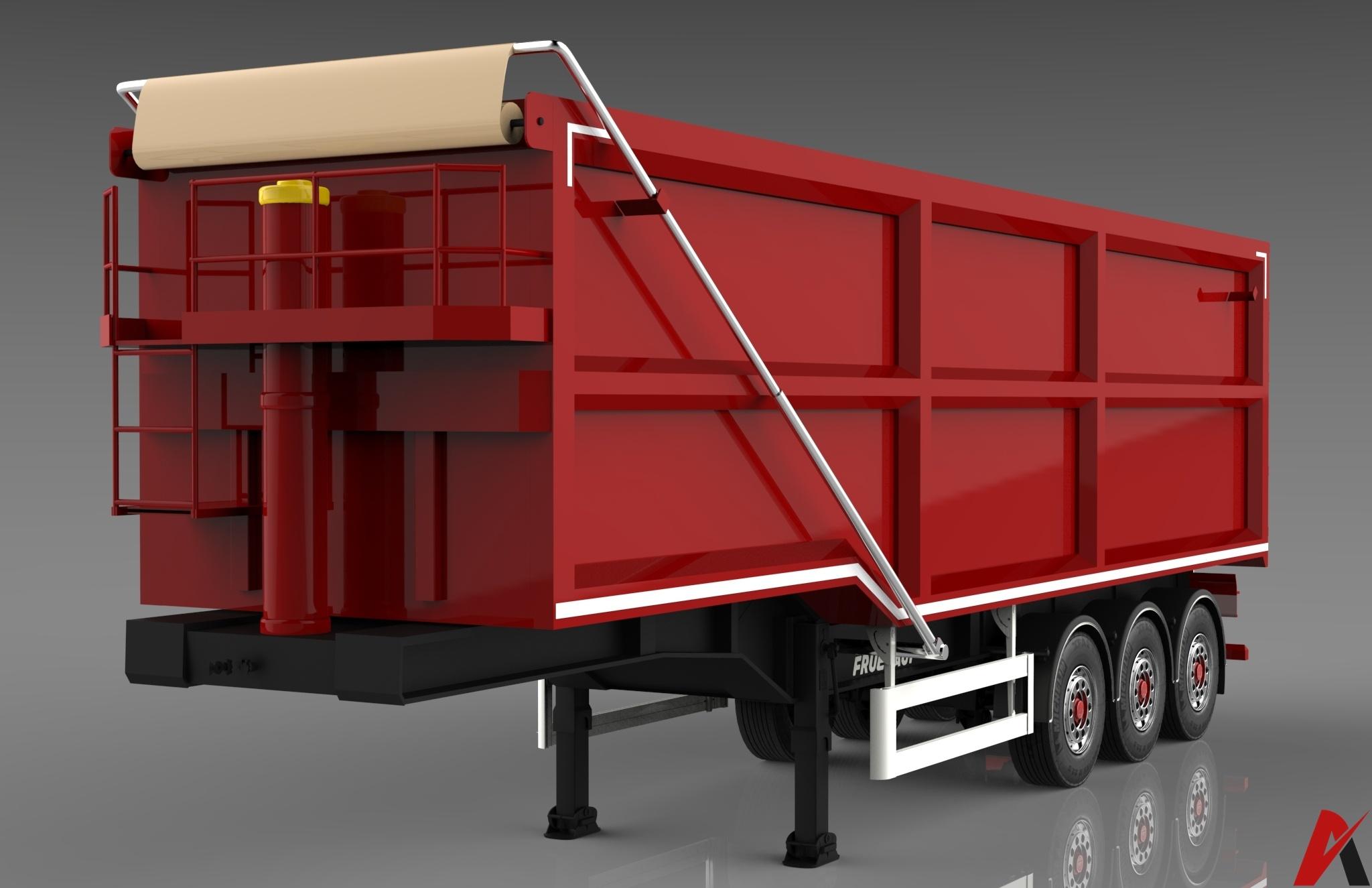 3D Fruehauf Steel Bulker Trailer Model
