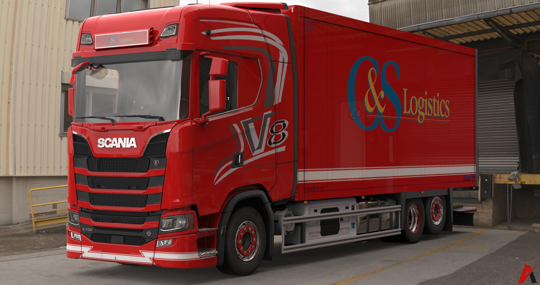 3D Scania S730 V8 Tandem FRC & Trailer Model