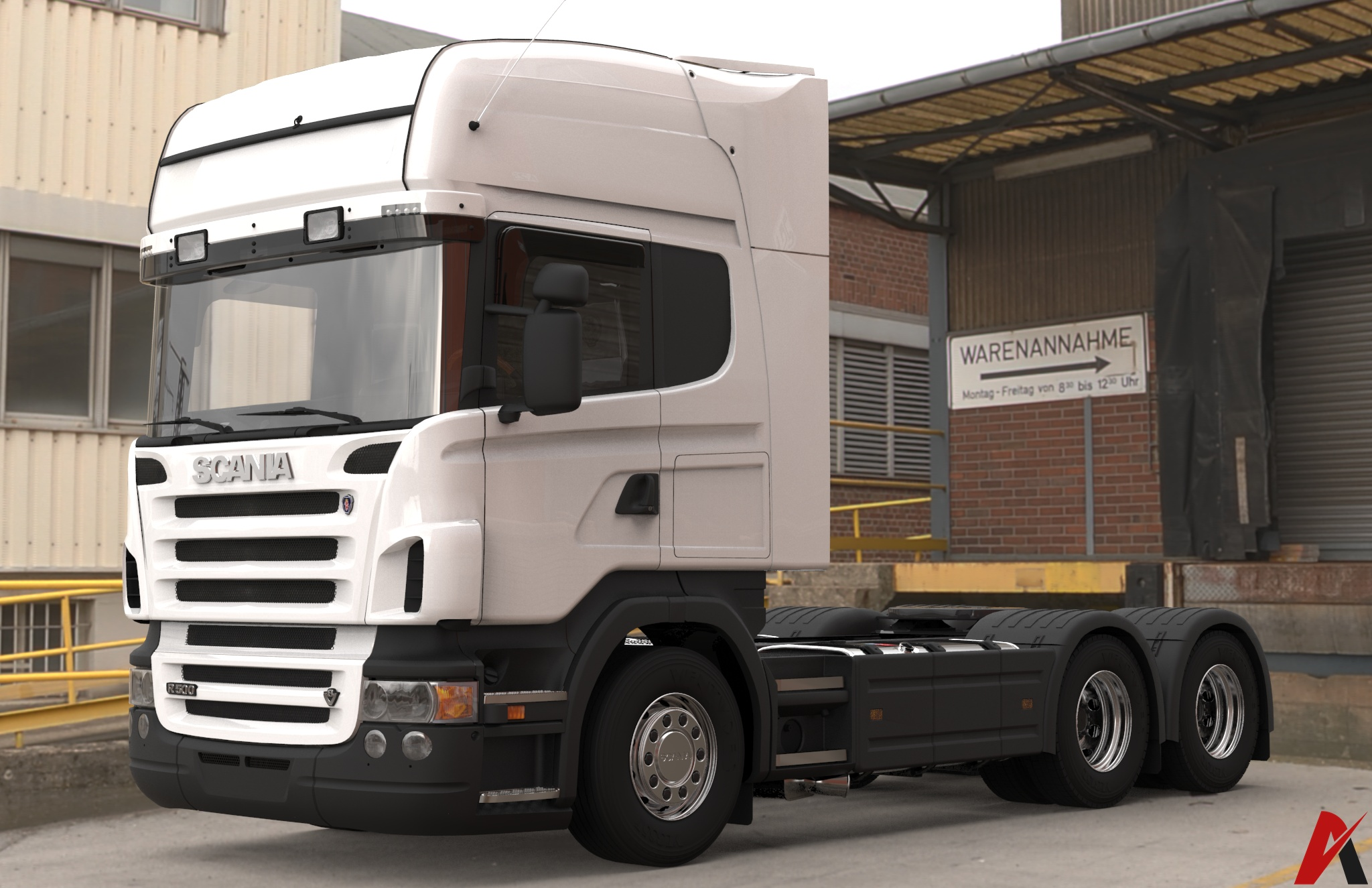 3D Scania R500 6×4 Long Chassis Model