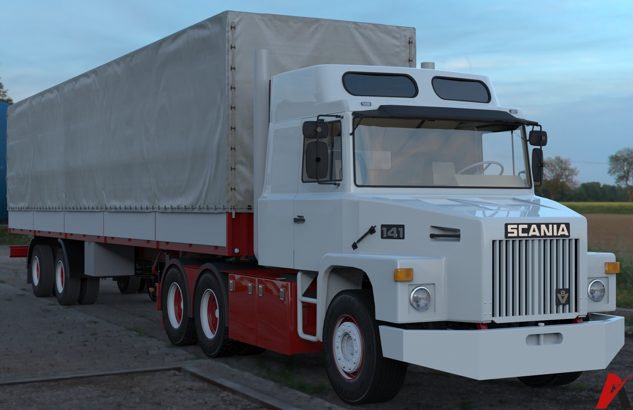 3D Scania 141 L 6×2 Standard Model With 2 Axled Curtain Trailer