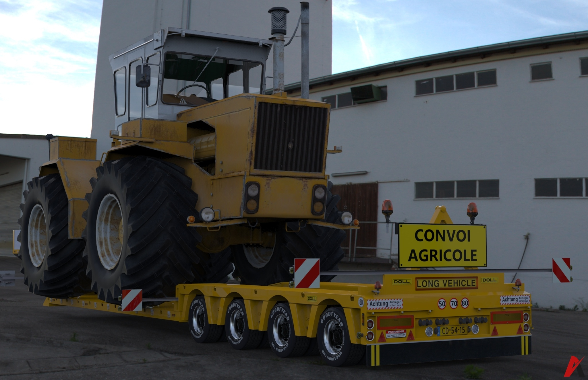 3D 4 Axles Doll Trailer With Raba Steiger Tractor Load Model