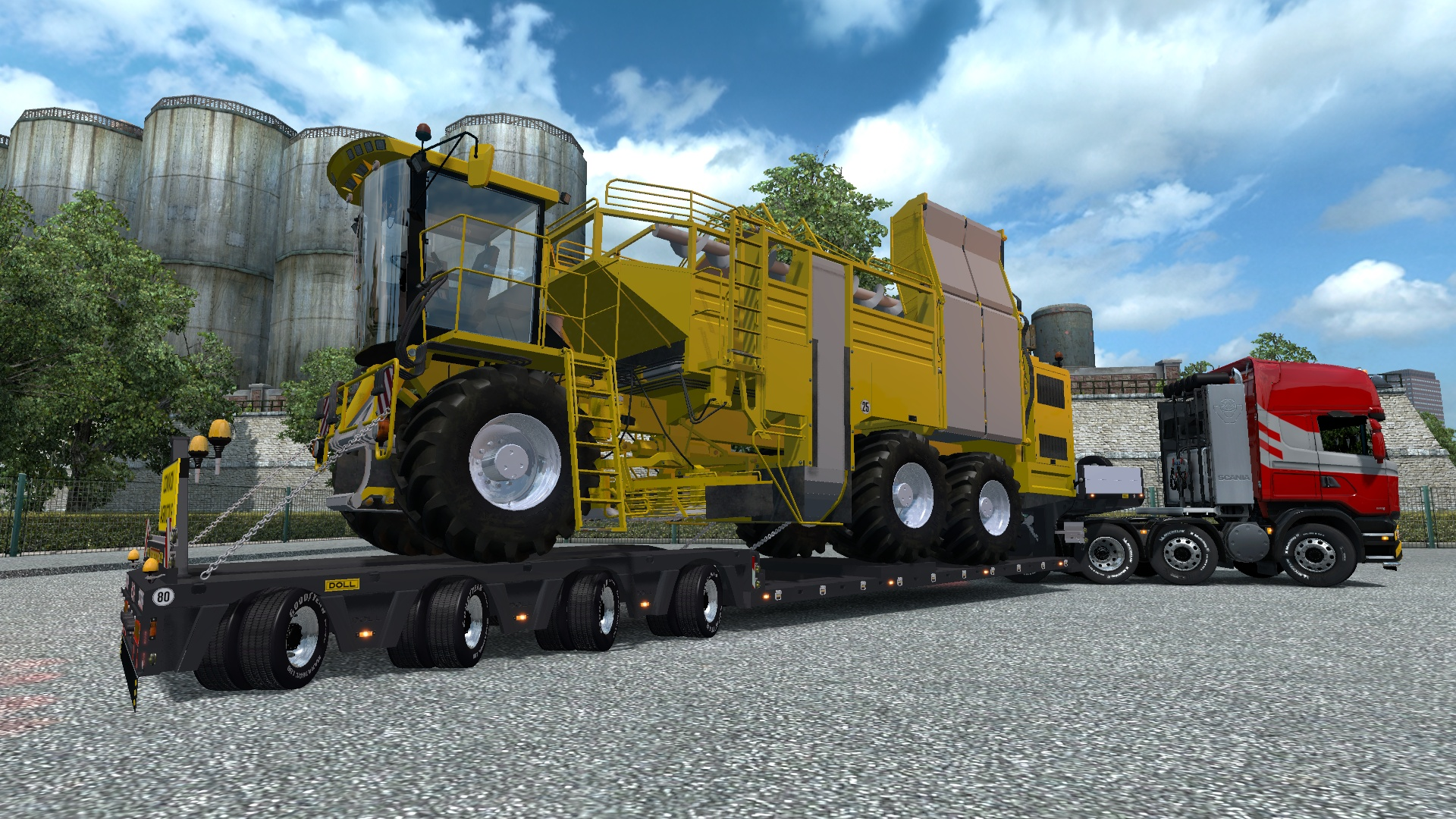 ETS2 4 Axled Doll Trailer With Harvester Load