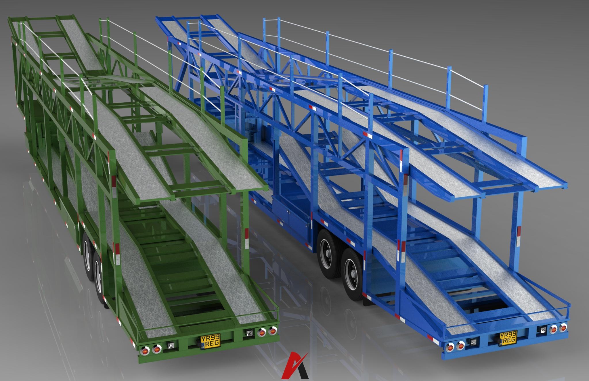 3D Car Transport Trailer Model