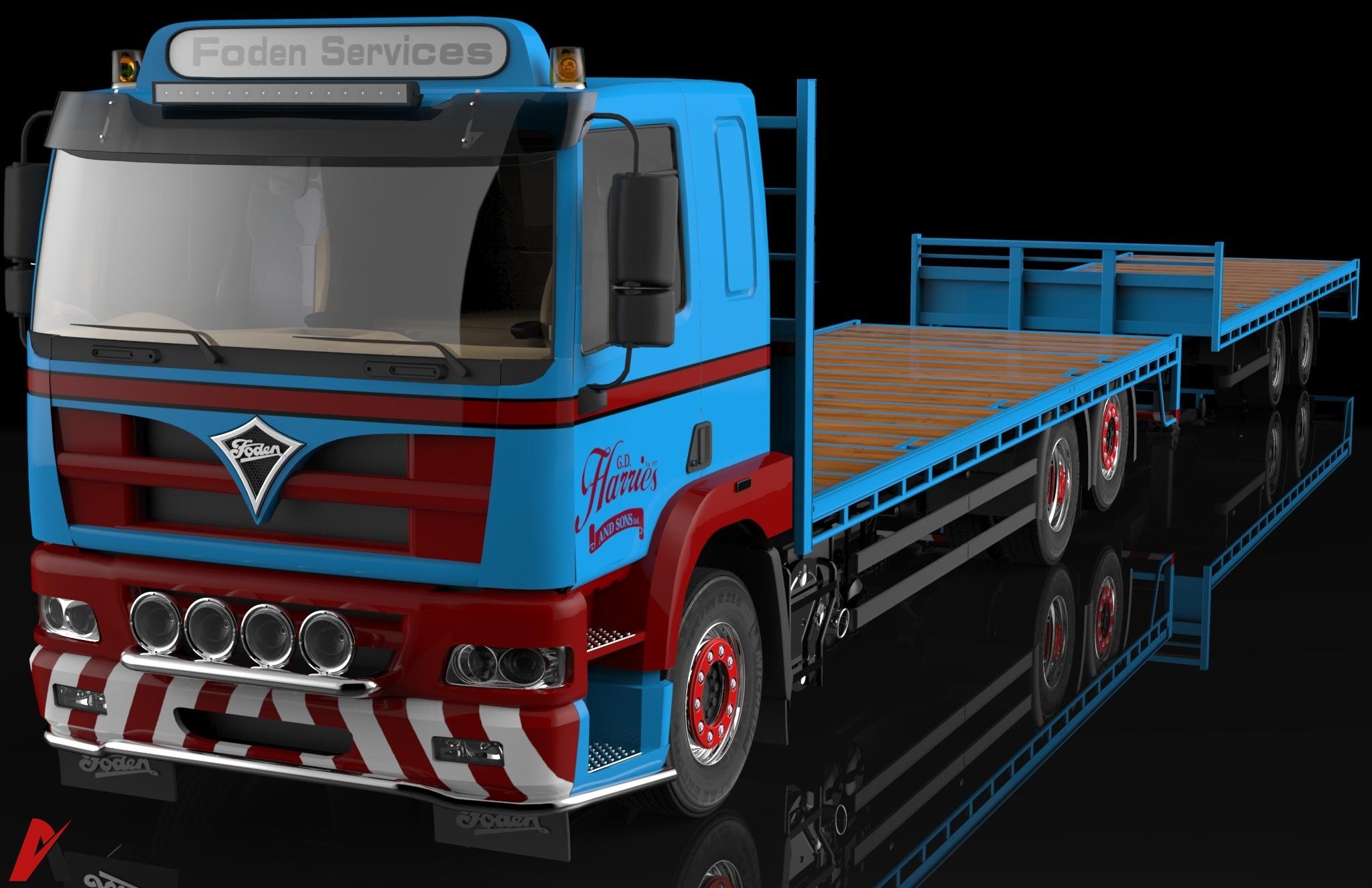 3D Foden Alpha 3000 Flatbed & Trailer Model