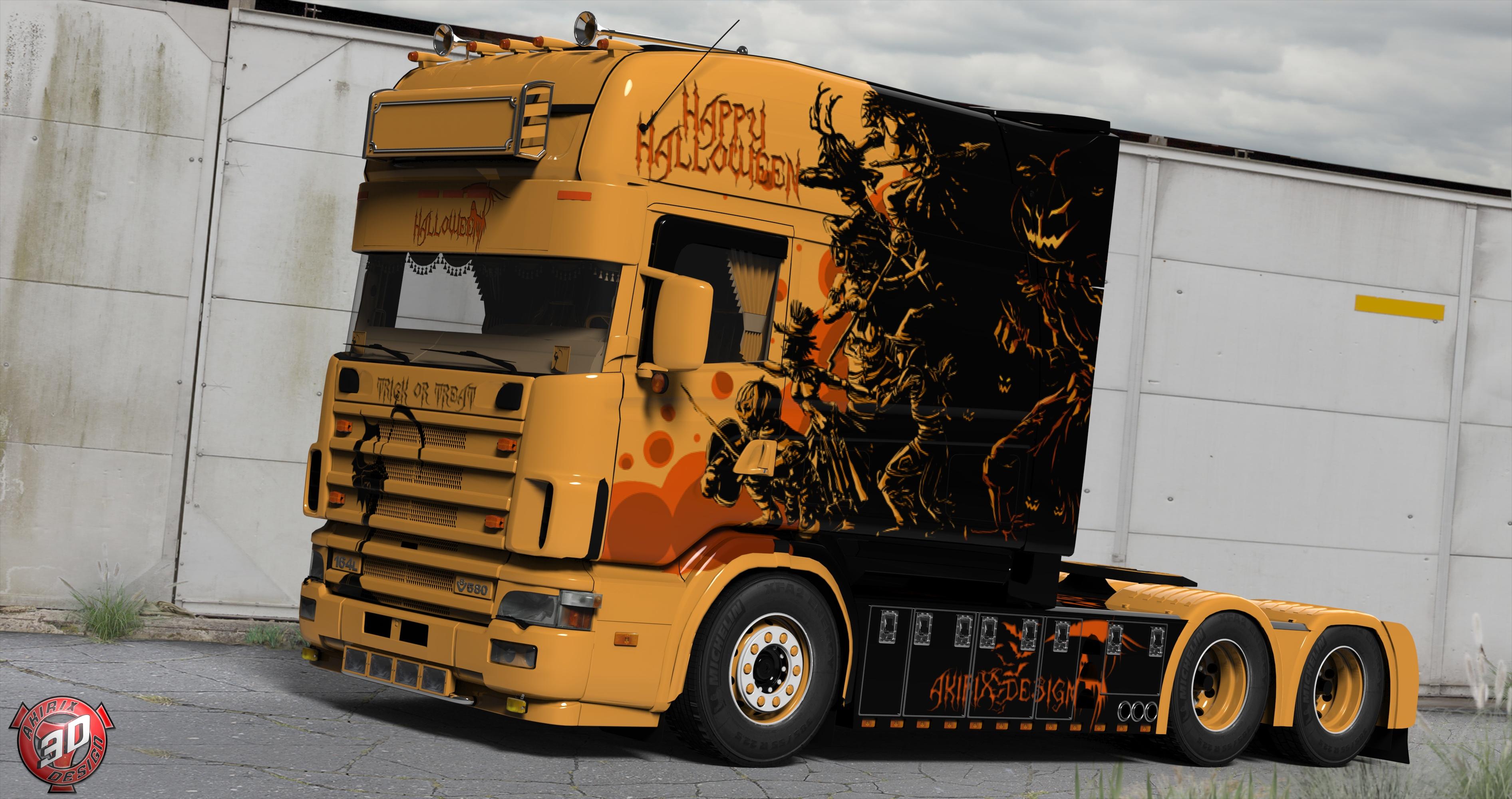 3D Scania 164L 580 V8 Longline Halloween