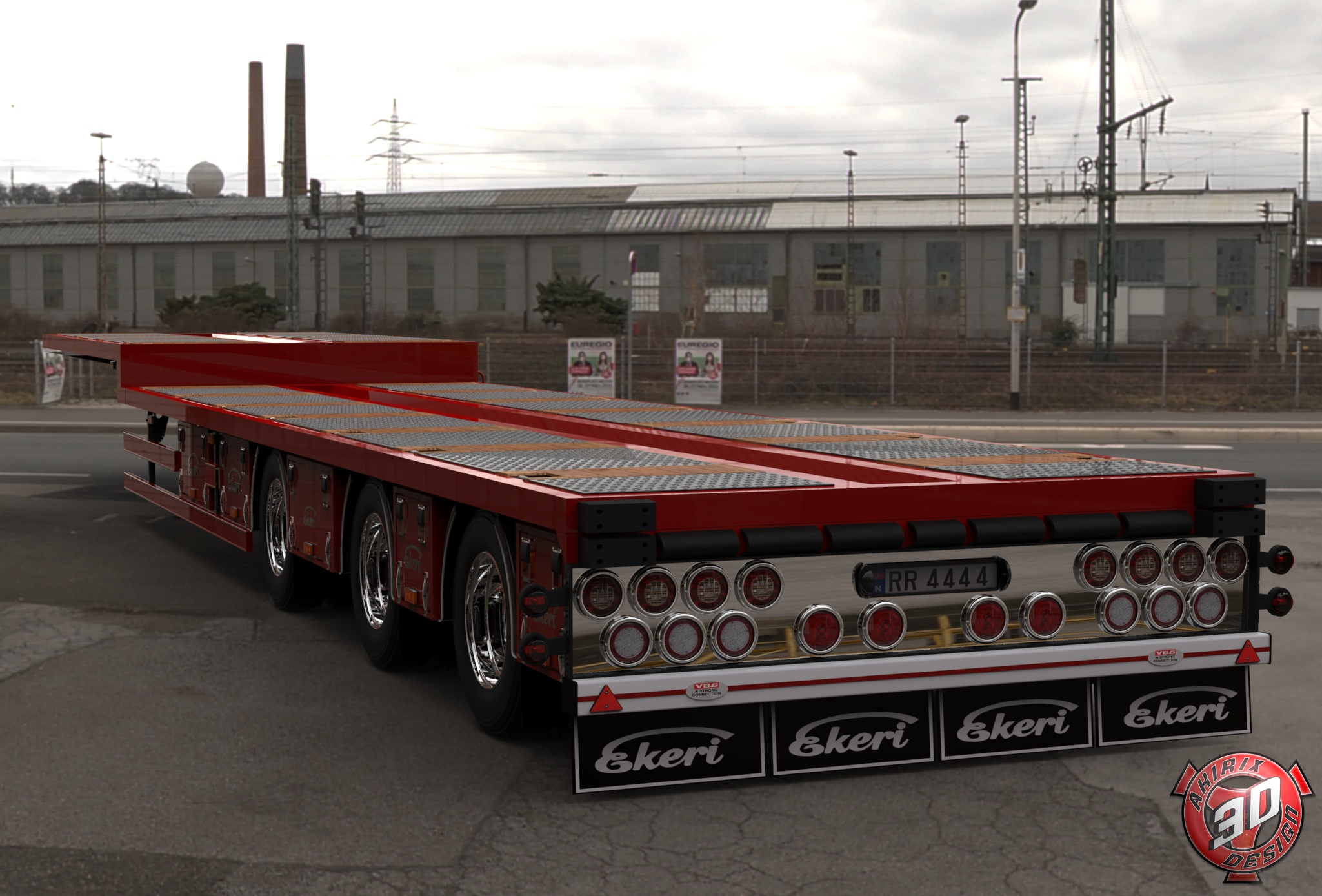3D Ekeri Flatbed Trailer Model