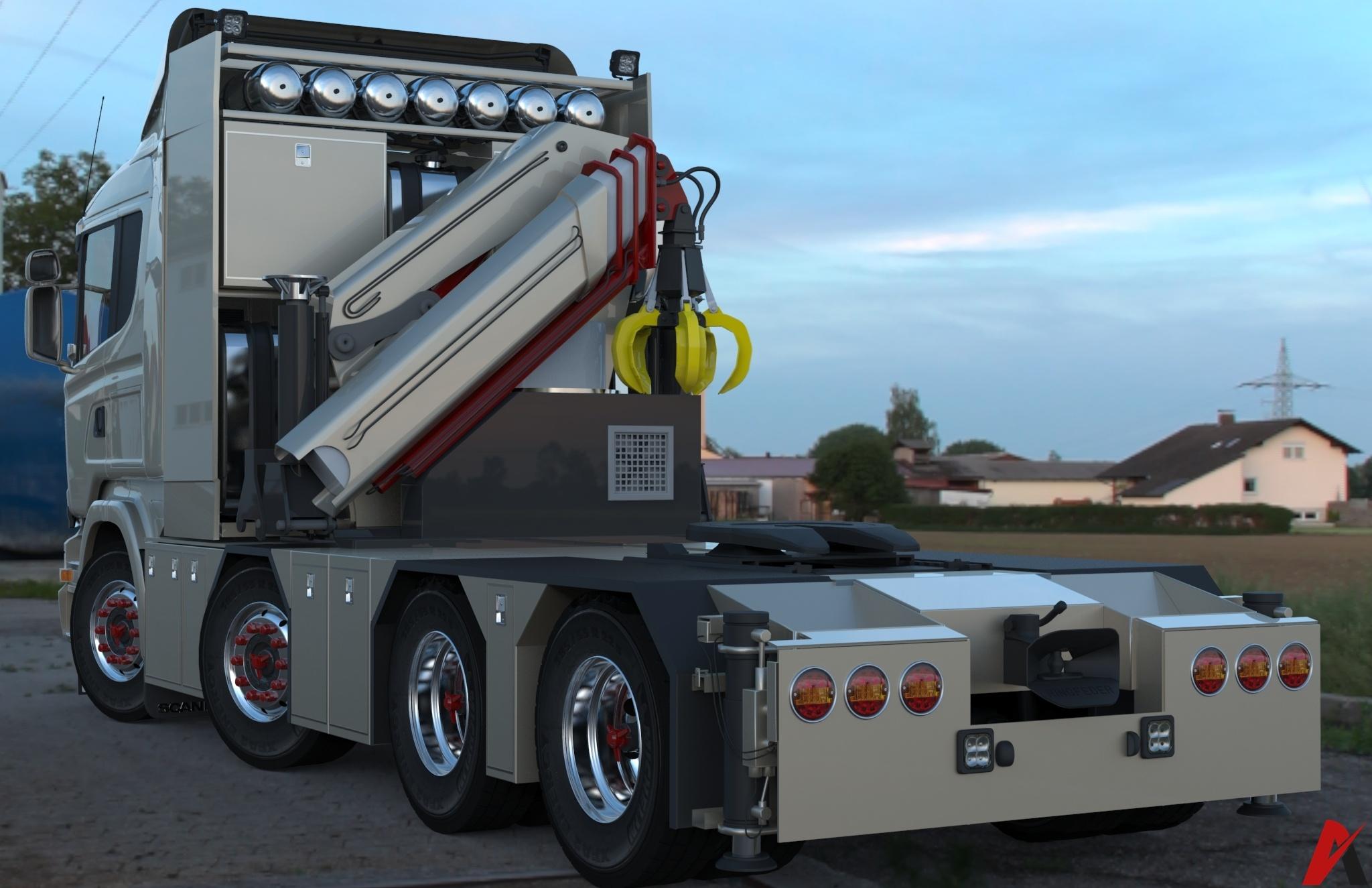 3D Scania R500 8×4 Streamline LowCab Model
