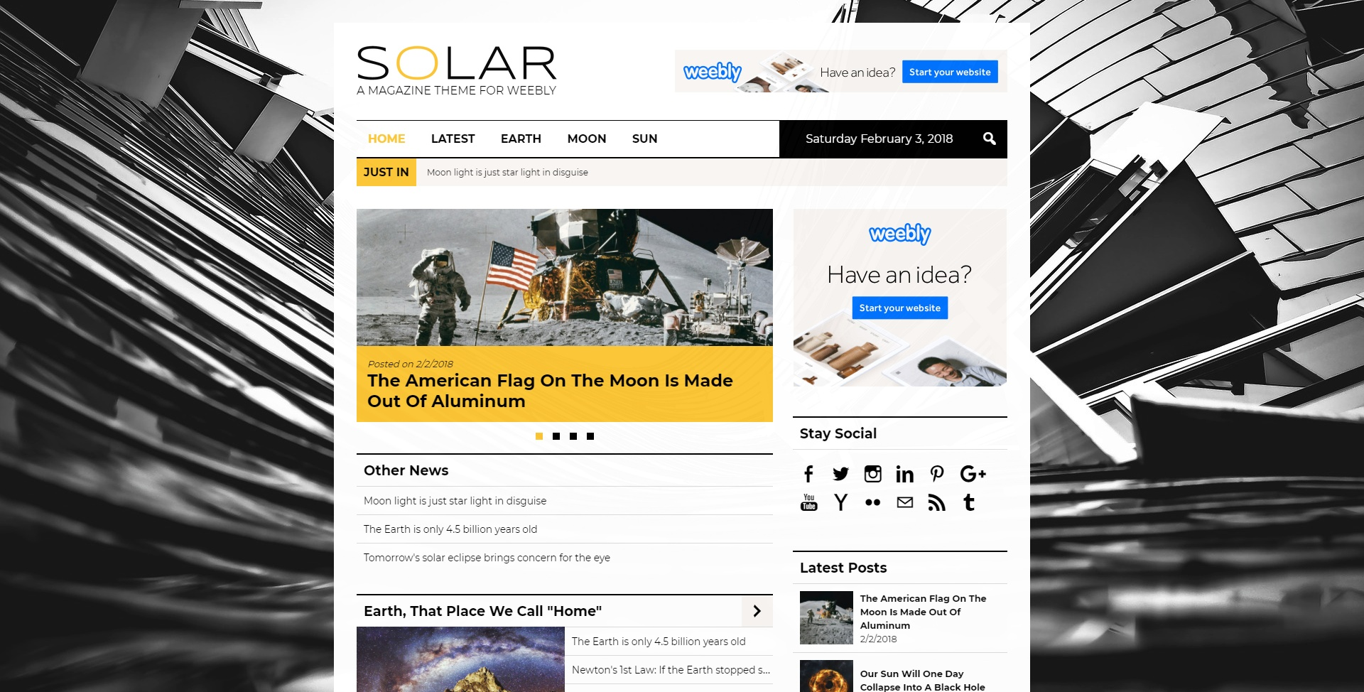 Solar (Weebly Theme)