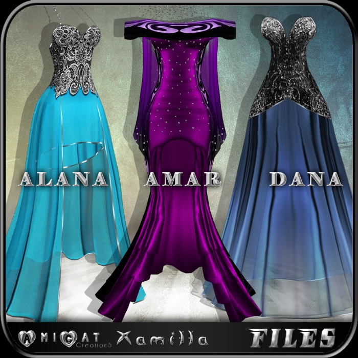 AmiCat IMVU FREE 3 Gowns (for xamilla meshes only)