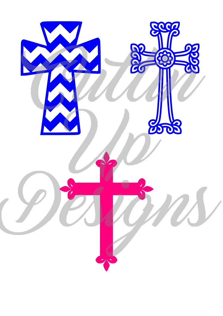 Set of 3 One color crosses.  SVG Cutting File.  Great to stand alone or add into your designs