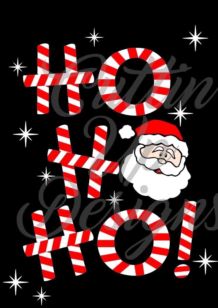 Ho Ho Ho Candy Cane Santa Claus Christmas SVG Cut File for Cricut or Cameo. Super cute and easy