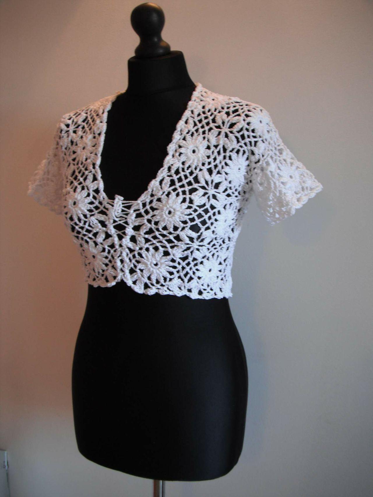 crochet white bolero pattern pdf nr 40