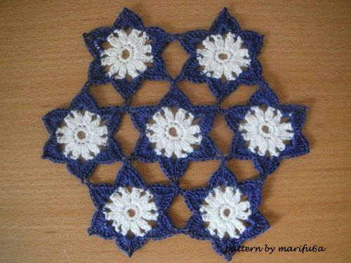 Crochet pattern flowers motif doily hot pad nr 04