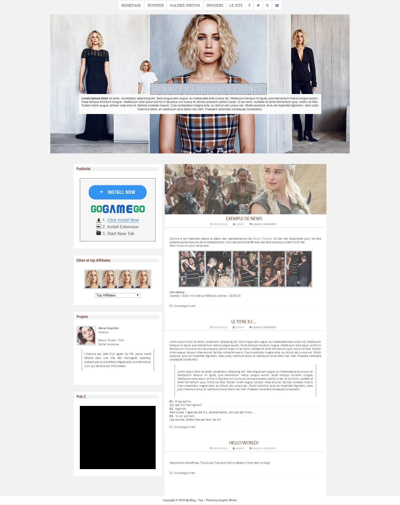 Premade Wordpress Jennifer Lawrence