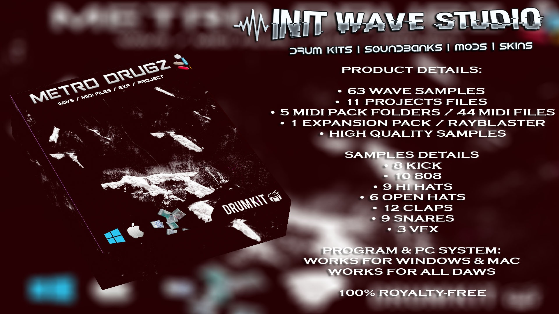 INIT WAVE STUDIO - METRO DRUGZ DRUM KIT VOL.1 (MIDI FILES, LOOPS & FLPS)